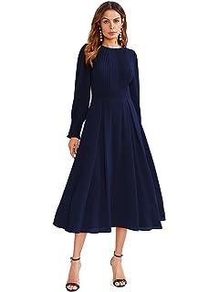 538e9702266 Midi Winter Dresses for Women Spring Pleated Knit Long Sleeve V Neck ...