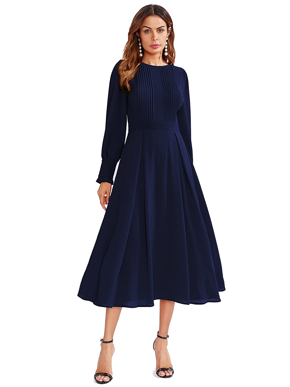 1bb052c323fb Milumia Women's Elegant Frilled Long Sleeve Pleated Fit & Flare Dress at  Amazon Women's Clothing store: