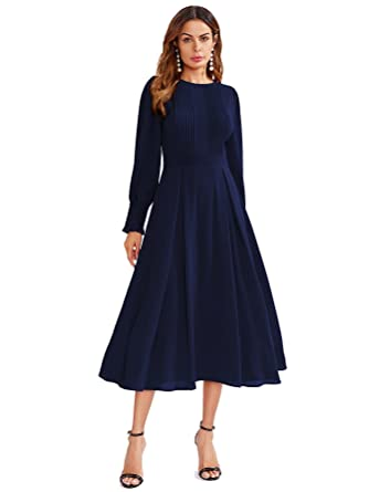 96681a8b5c5 Milumia Women's Elegant Frilled Long Sleeve Pleated Fit & Flare Dress  X-Small Navy