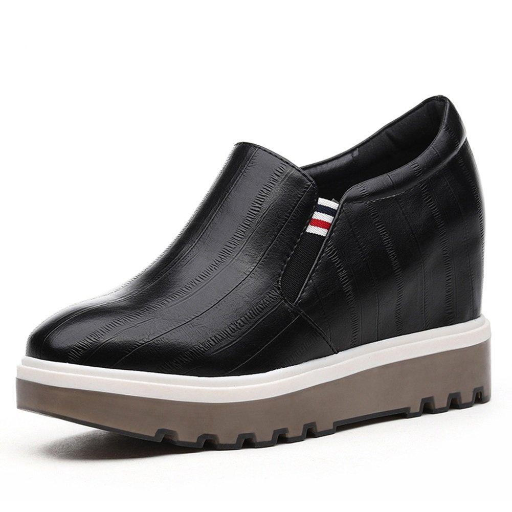 QIDI Freizeitschuhe Frau Gummi Steigung Modisch Rutschfest Einzelne Schuhe (Farbe   Schwarz größe   EU36 UK3.5)