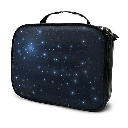 Outer Space Universe Blue Shining Stars Estuche cosmético de maquillaje de viaje, Estuche de cepillos portátiles Estuche de artículos de tocador Estuche de viaje Organizador Estuche de cosmé: Amazon.es: Belleza
