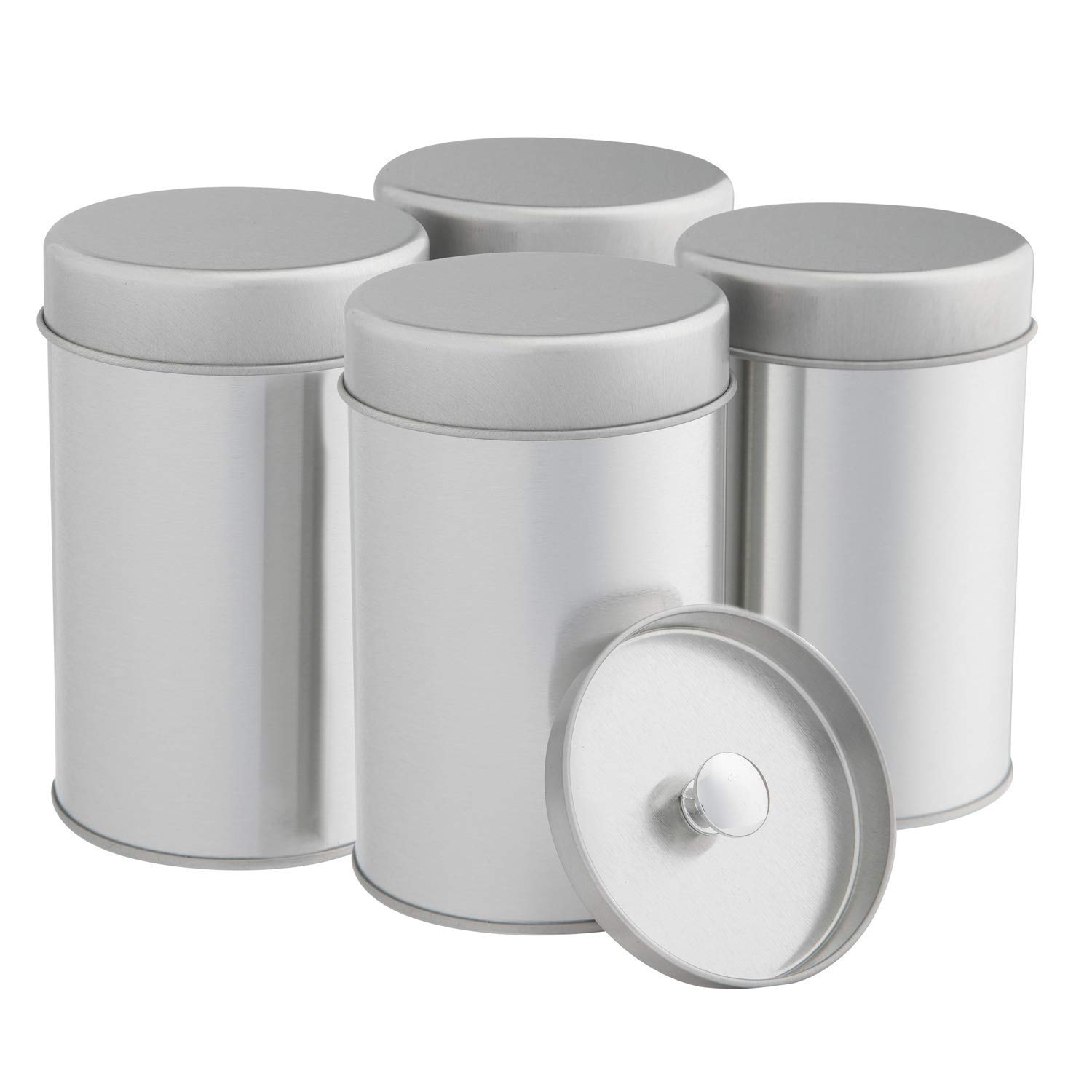 Tea tins canister set with airtight double lids for loose tea small kitchen canisters for tea coffee sugar storage loose leaf tea tin containers by