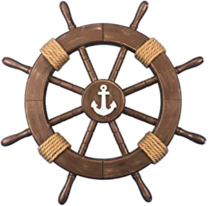 "Hampton Nautical Rustic Wood Finish Decorative Ship Wheel with Anchor 18"""