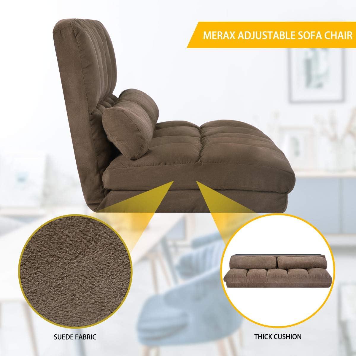Merax Floor Sofa Bed, Foldable Sleeper Sofa Bed, Adjustable Fabric Folding Lazy Sofa Floor Sofa Couch with 2 Pillows Brown
