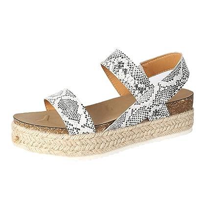 5574ec3e5 Women's Espadrilles Wedge Sandal Casual Thick-Bottom Open Toe Platform  Beach Shoes (⭐️