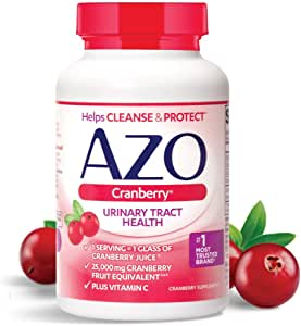 AZO Cranberry, Daily Urinary Tract Health Dietary Supplement, 25,000 mg Of Cranberry Fruit Equivalent Per Dose Equal To One Glass of Cranberry Juice, 100 Count