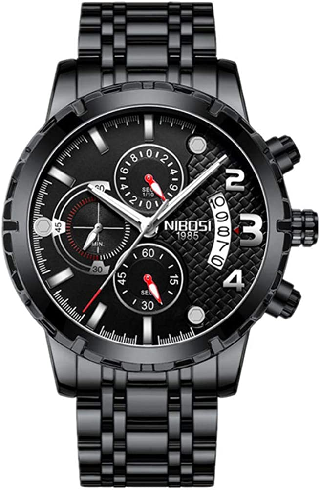 Relojes de Pulsera Dial Grande para Hombres Multifunción con Reloj Impermeable Redondo De Cuarzo Calendario (Reloj Deportivo Al Aire Libre para Estudiantes)