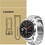 for Amazfit GTR Band, Lamshaw Stainless Steel Metal Replacement Straps for Amazfit GTR 47mm / Amazfit GTR 42mm (Silver…
