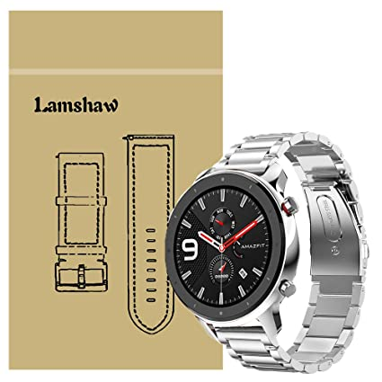 for Amazfit GTR Band, Lamshaw Stainless Steel Metal Replacement Straps for Amazfit GTR 47mm / Amazfit GTR 42mm (Silver, 47mm case)