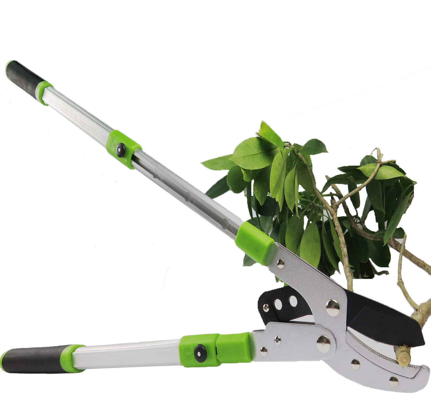"Mesoga Lever Drive Anvil Lopper, 24""-40.5""Extendable Compound Action Tree Trimmer, SK-5 Steel Blade 2"" Branches Cutting Capacity, Sturdy Bypass Garden Hedge Pruning with Lightweight Aluminum Handles"