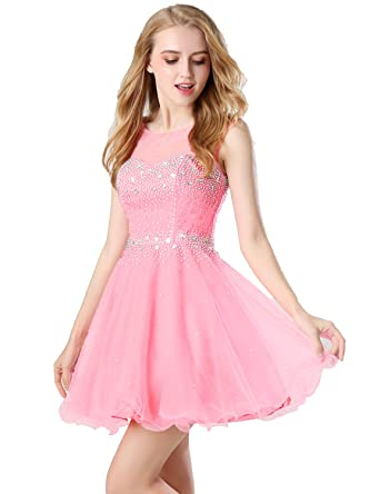 anmor Womens Short Tulle Homecoming Dresses Beading Sequin Prom Party Cocktail Gown Pink US2