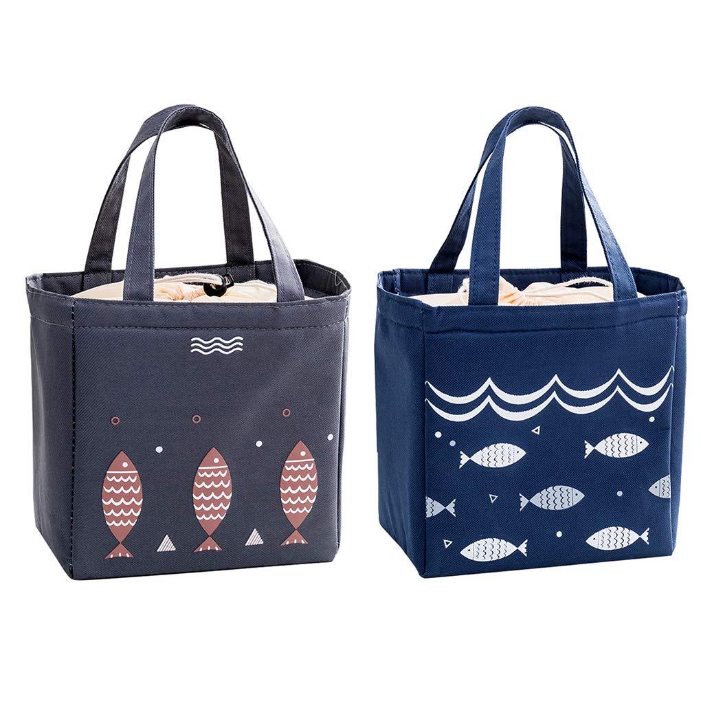 Rolin Roly 2 Pezzi Borsa Termica Pranzo Borsa Frigo Grande Porta Pranzo Lunch Bag Dark Blue+Dark Grey