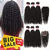 Best Hair Bundles With Free Parts - Pizazz Brazilian Curly Hair with Closure Unprocessed Brazilian Review