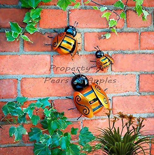 Adorno metálico para pared de jardín, decoración de jardín, para colgar, diseños de mariquita y abeja, 3 unidades, Bumble Bees: Amazon.es: Jardín