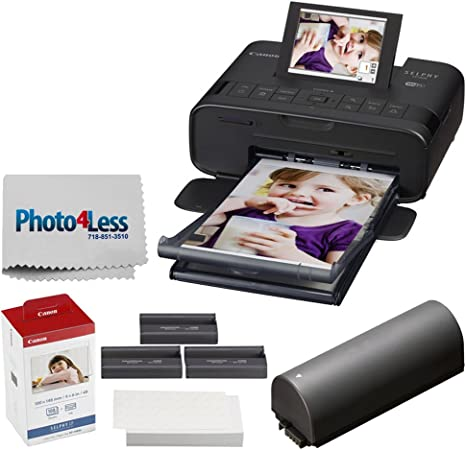 Canon Selphy Cp1300 Imprimante Photo Compacte Noir Encre Couleur Et Papier Canon Kp 108in Batterie De Rechange Chiffon De Nettoyage Photo4less Amazon Fr Photo Caméscopes