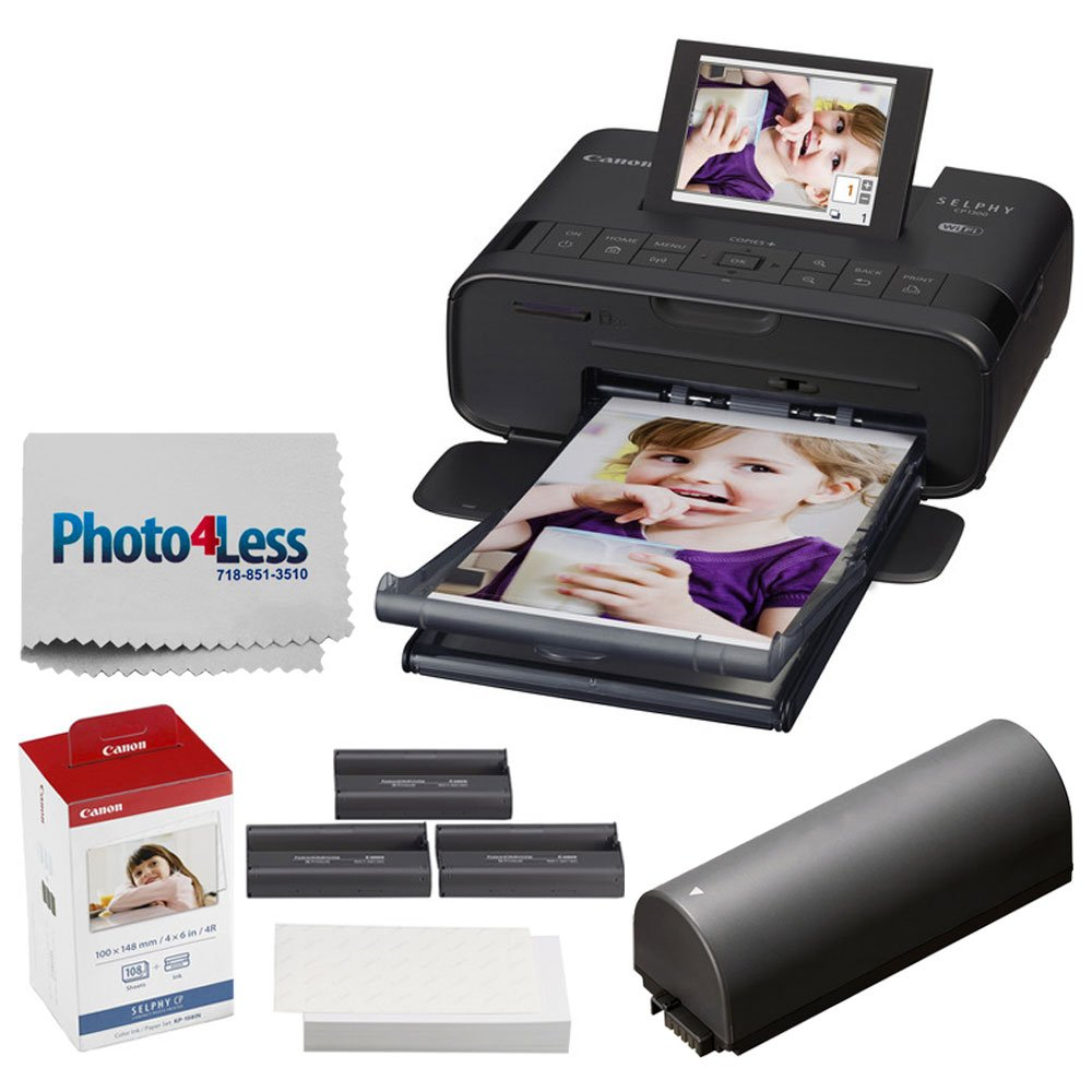 Canon SELPHY CP1300 Compact Photo Printer (Black) + Canon KP-108IN Color Ink and Paper Set + Replacement Battery + Photo4Less Cleaning Cloth - Deluxe Value Printing Bundle by Photo4Less