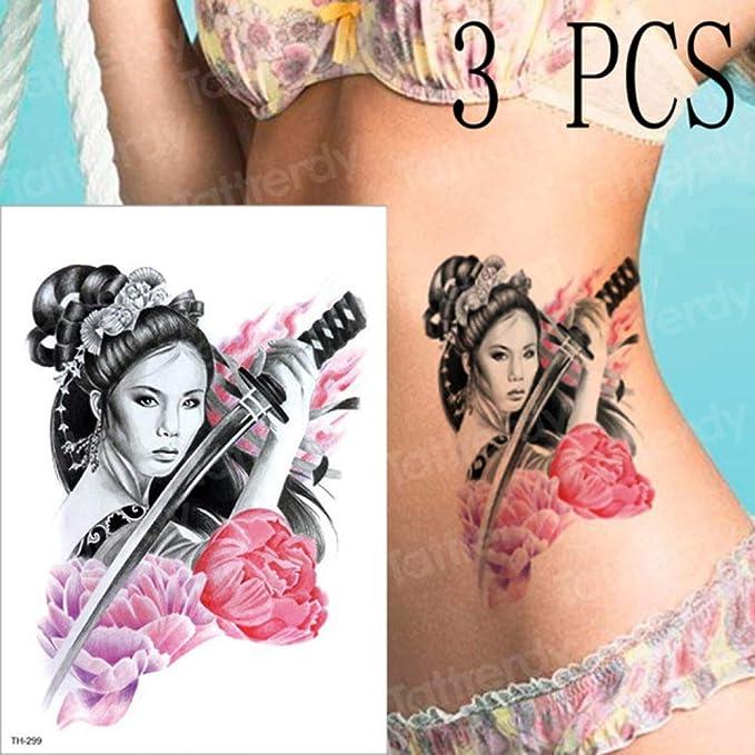 3 unids/Lote Japonés Samurai Tatuaje Geisha Femenina Etiqueta ...