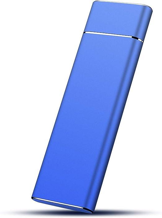 HDD 外付け ポータブル1TB Type-C USB3.1対応 防水 耐衝撃 キズに強い 耐熱(Blue,1TB)