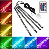 Openuye 7 Color 72 LED Car Interior Floor Decorative Atmosphere Lights Strip Waterproof Glow Neon Decoration Lamp with Wireless Remote Control and Car Charger