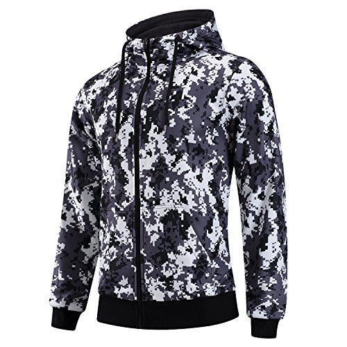 Men's Sports Hoody Slim Fit Long Sleeve Zip Up Fitness Active Hooded...