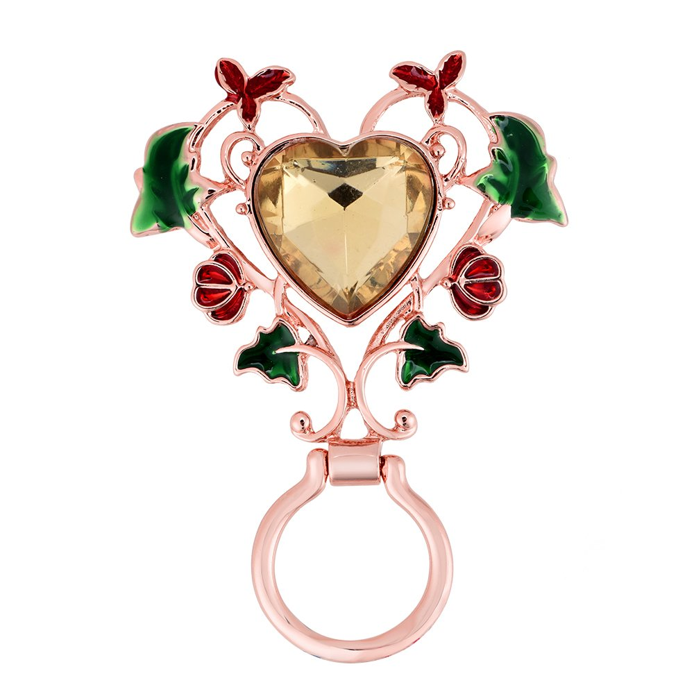 TUSHUO 3 Colors Hollow Double Love Heart Red Flowers Green Leaves Magnetic Eyeglass Holder Brooch (Rose Gold)