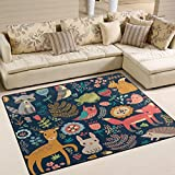 ALAZA Forest Owl Deer Hedgehog Fox Area Rug Rugs for Living Room Bedroom 7' x 5'
