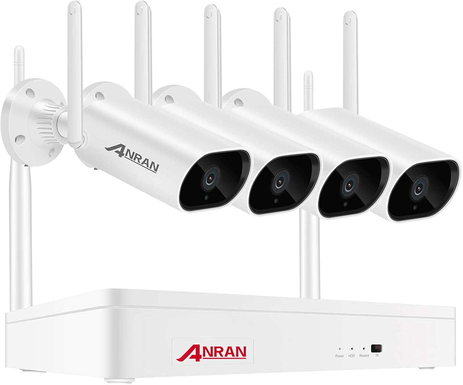 [Expandable 8CH and Audio Recording] Wireless Security Camera System with 1TB Hard Drive & One-Way Audio,ANRAN 8 Channel NVR 4Pcs 3.0MP Night Vision WiFi IP Surveillance Cameras Outdoor Indoor