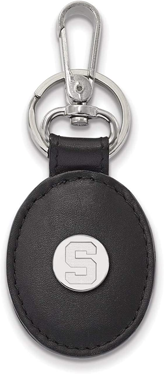 Lex /& Lu LogoArt Sterling Silver Michigan State University Black Leather Oval Key Ch LAL144876