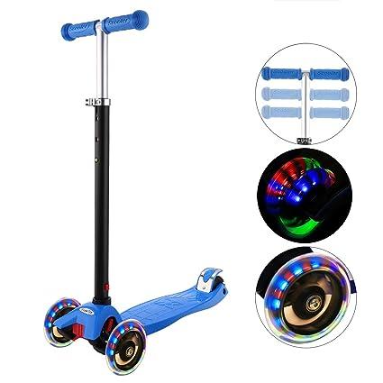 Hikole Patinete Infantil 3 Ruedas, niños de Altura Ajustable Scooter para niños y niñas 3-12, luz LED Intermitente Ruedas de PU (Almacén checo)