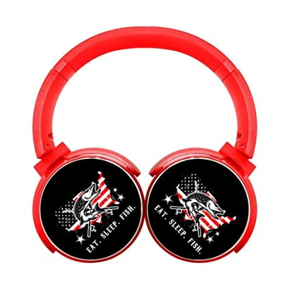 TRTRSCK Wireless Headphones Eat Sleep Fish Fashion Earphones Best Headset Bluetooth Red