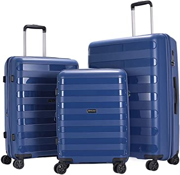 GinzaTravel Anti-scratch Widened and thickened large capacity Luggage 3 Piece Sets 8-wheel Spinner White Expandable Suitcase sets(all 20 24 28