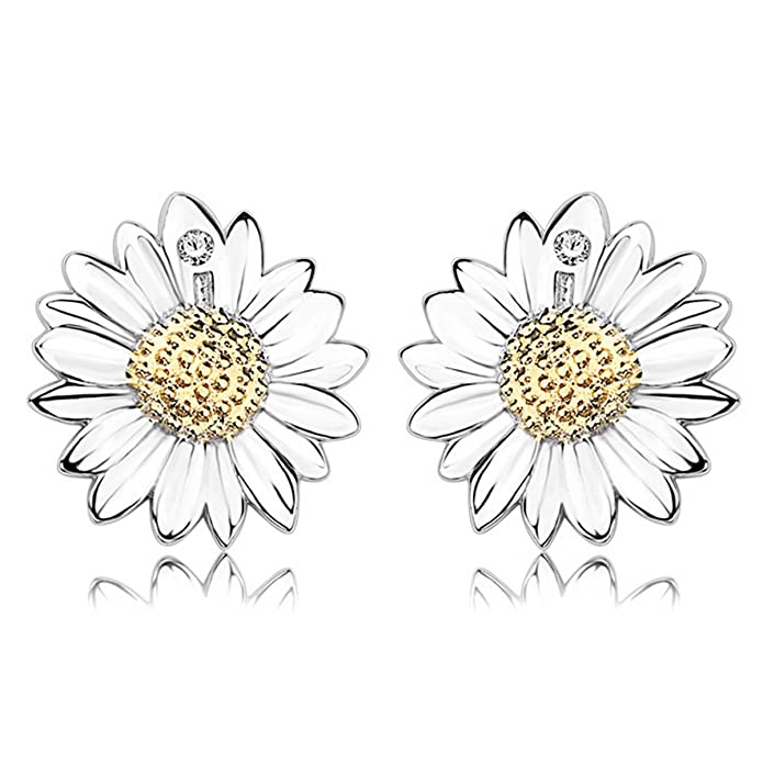 Gilind 925 Sterling Silver Sunflower Stud Earrings With Gift Boxes AX6k1Bb9