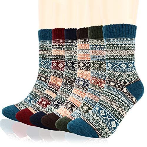 Mens Wool Crew Socks,Homga 6 Pack Warm Winter Soft Thick Socks Cozy Vintage Knit Gifts