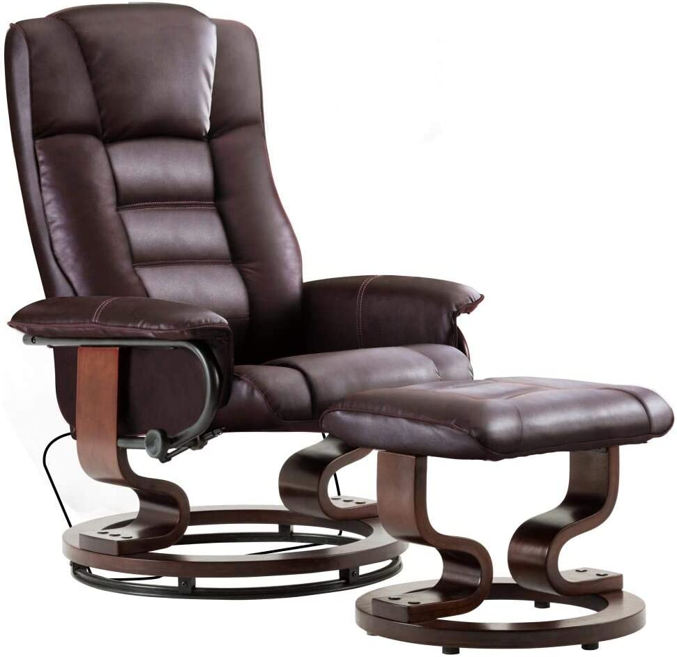 Mcombo Swiveling Recliner Chair with Wrapped Wood Base and Matching Ottoman Footrest, Furniture Casual Chair, Faux Leather 9019 (Dark Brown)