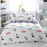 WarmGo Home Bedding for Adult Kids 100% Cotton Lovely Cat Pattern Design Duvet Cover Set White Full/Queen Size 4 Piece without Comforter