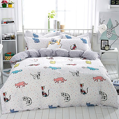 WarmGo Home Bedding for Adult Kids 100% Cotton Lovely Cat Pattern Design Duvet Cover Set White Full/Queen Size 4 Piece without Comforter by WarmGo