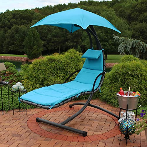 Sunnydaze Floating Chaise Lounger, Outdoor Hanging Hammock Patio Swing Chair with Canopy and Arc Stand, Teal