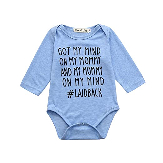 25cb3607a7 Sameno Newborn Kids Baby Boys Girls Clothes Cute Letter Print Romper  Jumpsuit Pajamas Outfits (Blue