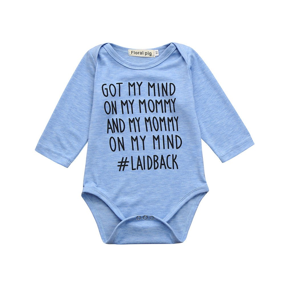 Toddler Rompers 2T, Newborn Toddler Baby Boys Girls Letter Print Romper Jumpsuit Outfits, Blue, 90