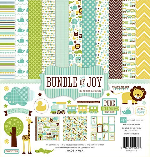Echo Park Paper BJB46016 Bundle of Joy Boy Collection Scrapbooking Kit ()