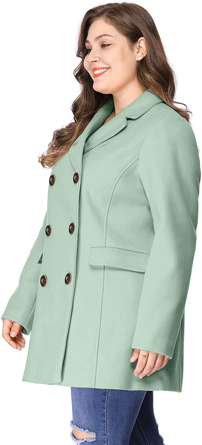 Agnes Orinda Womens Plus Size Notched Lapel Double Breasted Long Coat