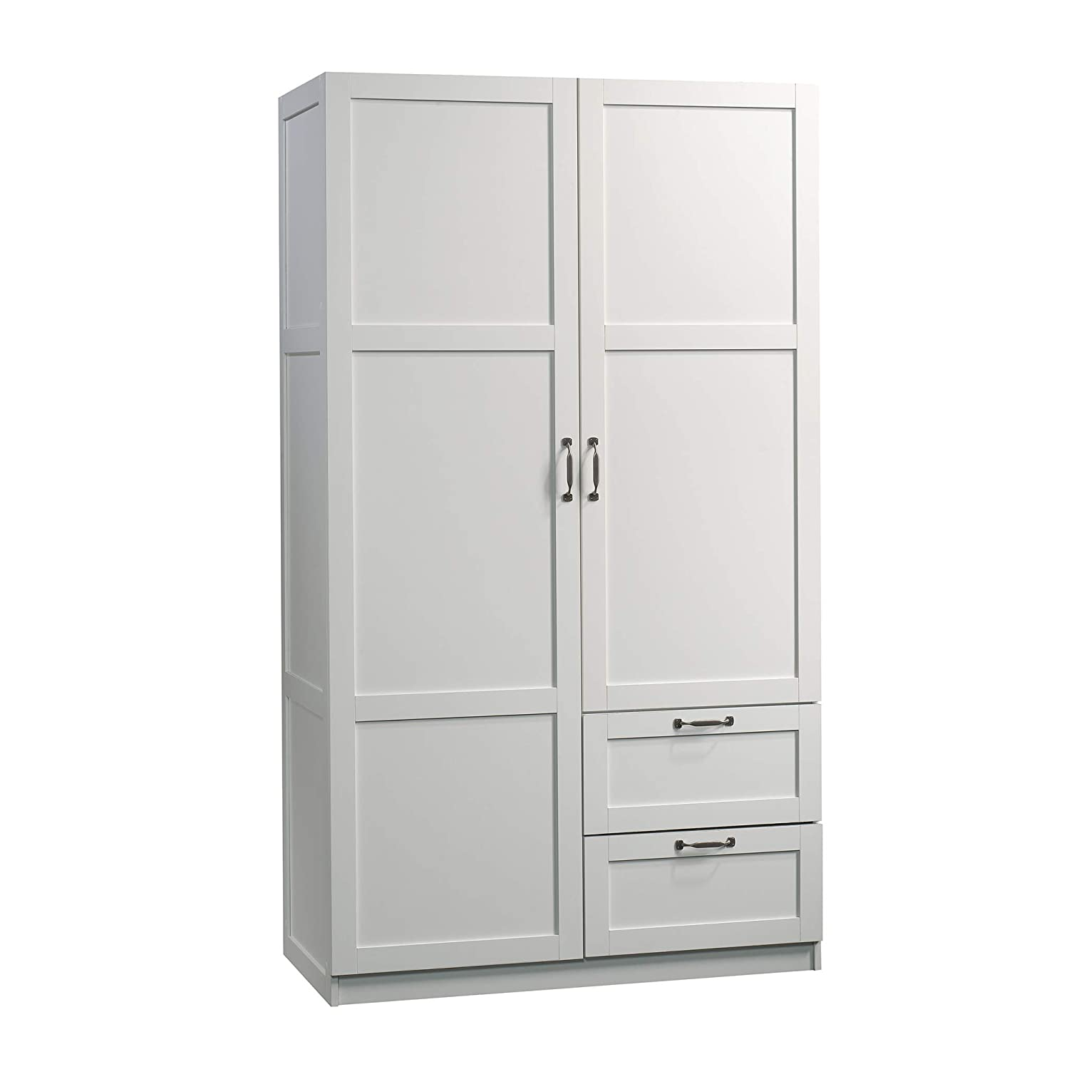 "Sauder 420495 Storage Cabinet, L: 40.00"" x W: 19.45"" x H: 71.10"",White finish"