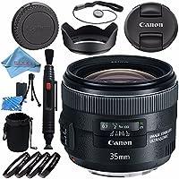 Canon EF 35mm f/2 IS USM Lens 5178B002 + 67mm Macro Close Up Kit + Lens Cleaning Kit + Lens Pouch + Lens Pen Cleaner + 67mm Tulip Lens Hood + Fibercloth Bundle