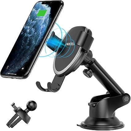 CHOETECH Cargador Inalámbrico Coche, Qi Wireless Car Charger Soporte, [2 Usos], 10W para Samsung S10/S10e/S10+/S9/S8/S8+/Note 10/Note 9, Carga7.5W ...