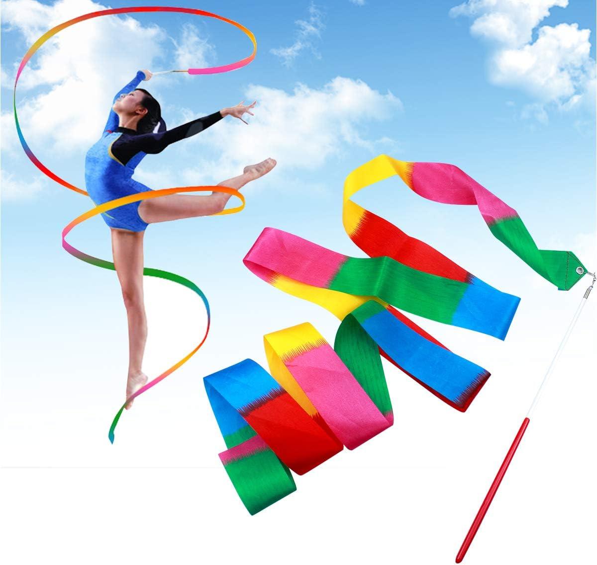 NATUCE 2 M/ètres Rubans de Gymnastique Gym Danse Tige De Streamer B/âton Twirling Art Rubans Rythmiques Baguettes pour Danses dart pour Enfants 3 Pi/èces