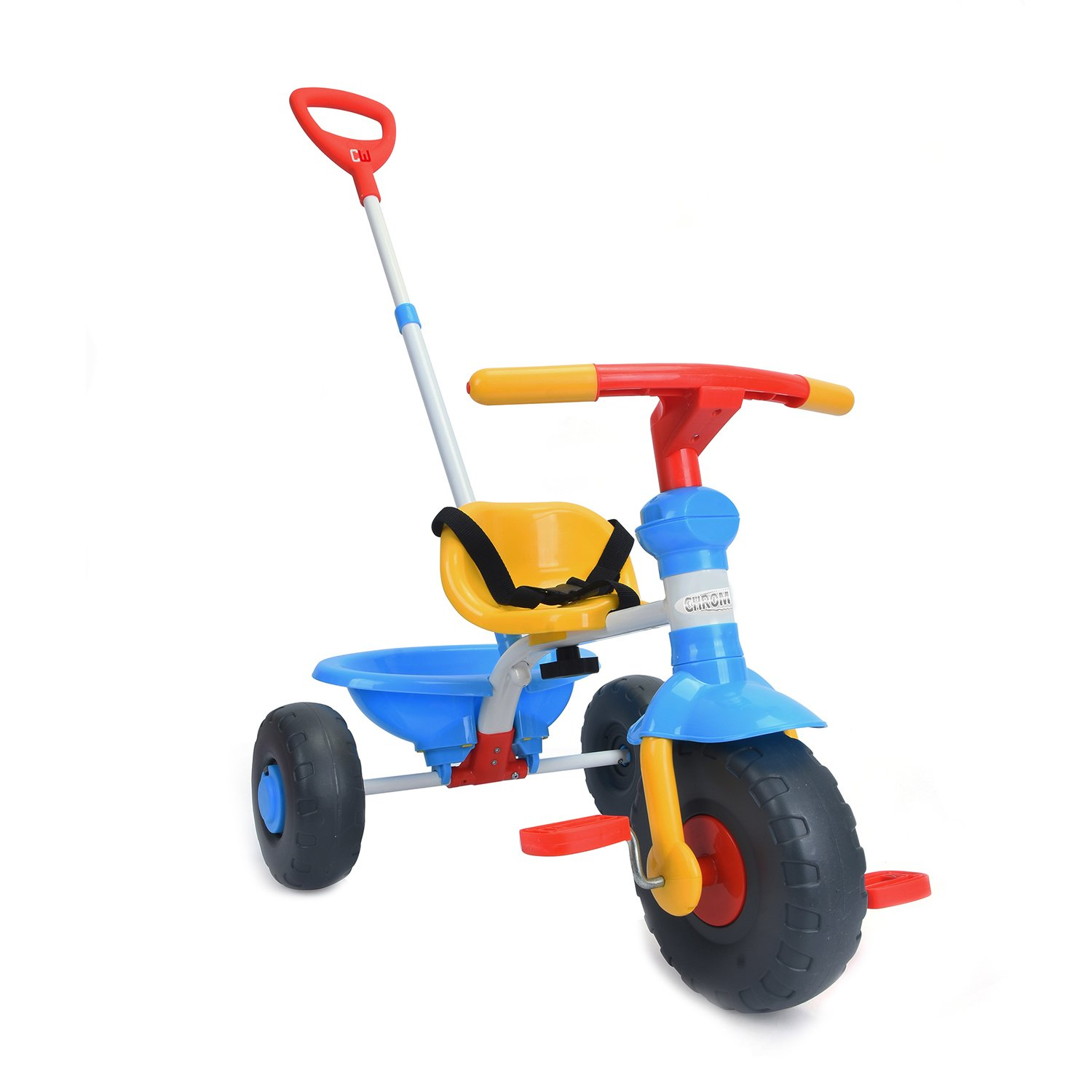 ChromeWheels Kids' Tricycle with 2 in 1 Push Handle & Easy Pedal, Blue