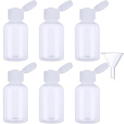 6 Piezas Botella de Viaje de Plástico Botella Transparente de Vuelo con Embudo Pequeño para Vuelo