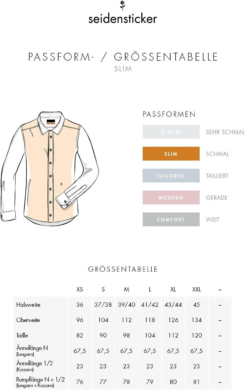 Seidensticker Herren Business Hemd Slim Fit B/ügelfreies schmales Hemd mit Kent-Kragen 100/% Baumwolle Langarm