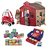 All Around Town Playhouse With 4 Different Theme Walls, Ride Cozy Coupe, Grocery Cans Play Food & Cash Register, Little Tikes, Kids Playhouse, Toy Food, Play Money, Pretend Play Set For Kids