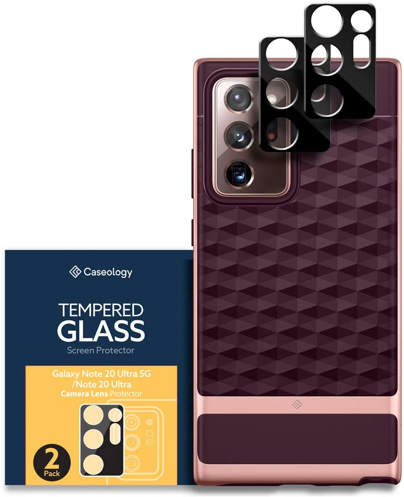 Caseology Parallax Case and Camera Lens Protector Bundle for Samsung Galaxy Note 20 Ultra - Burgundy